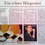 Ein echter Hörgenuss - Taunus-Zeitung vom 06.10.2014