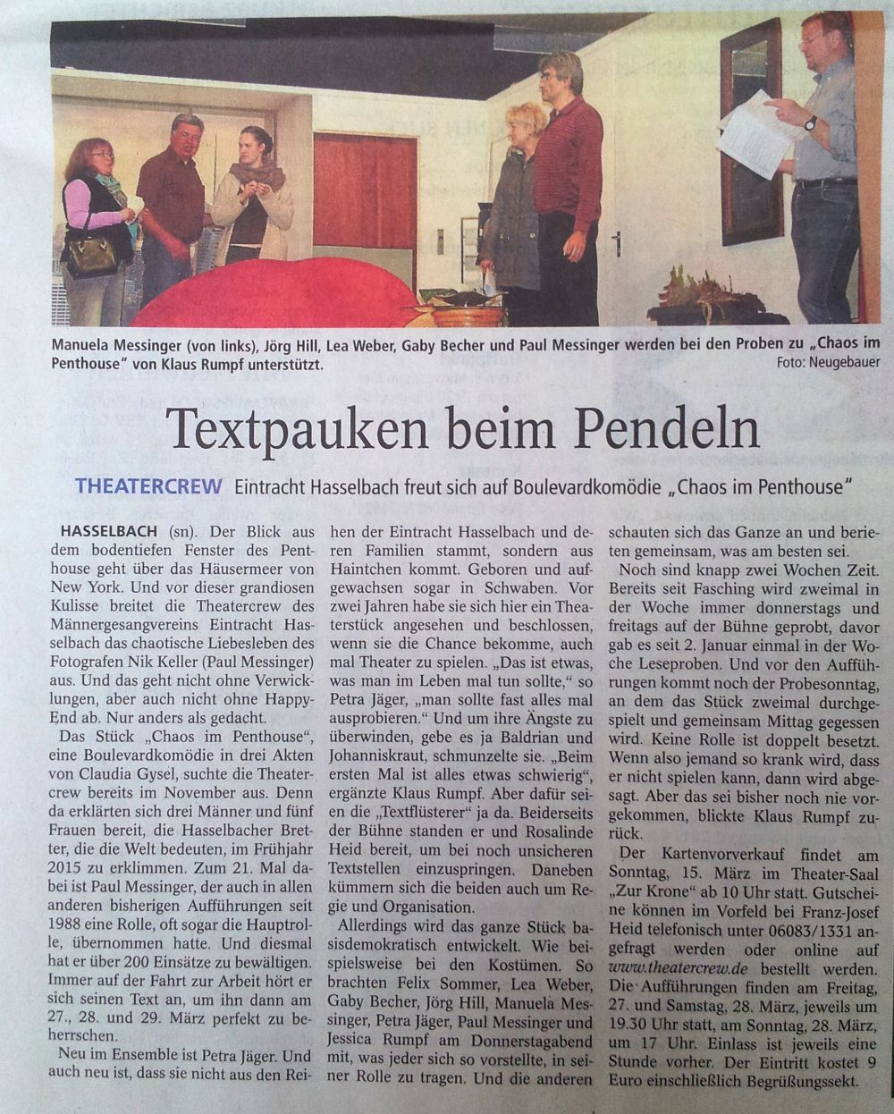 Usinger Anzeiger 14.03.2015
